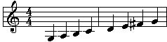 Staff: G Major Scale - 1 Octave