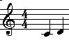 Intervals:Staff View Major 2nd Key of C