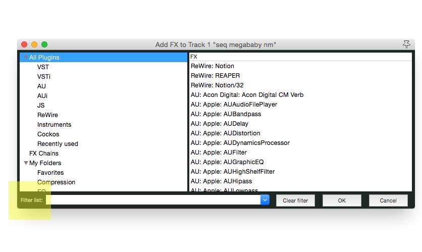 FX screen1filter list2