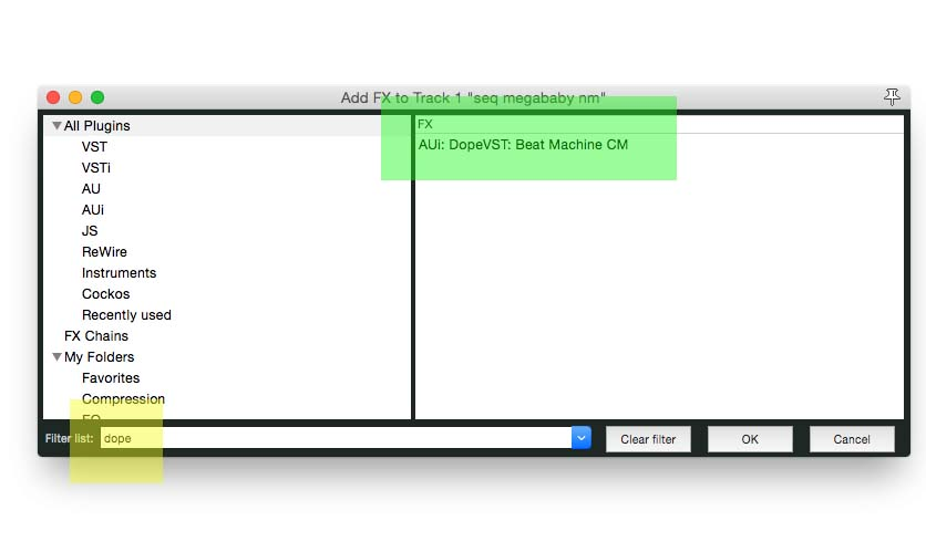 FX screen1filter list3